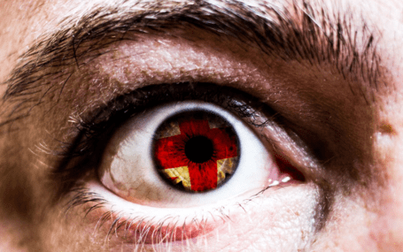 an image of an eye. it's pupils resembles the English flag