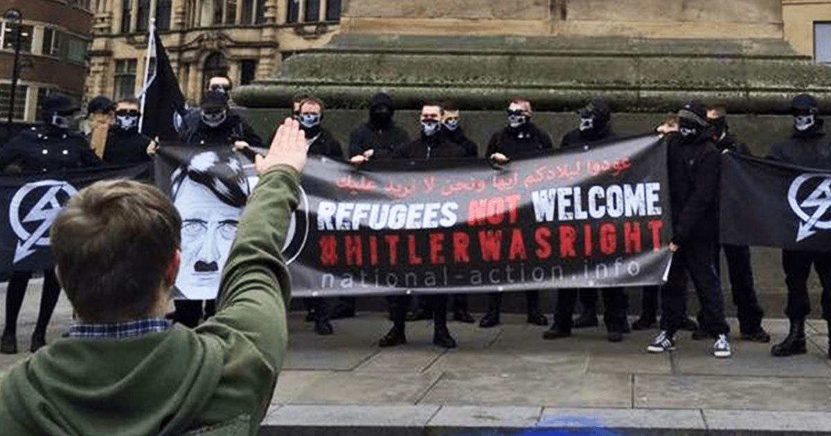 members of National Action doing a nazi salute