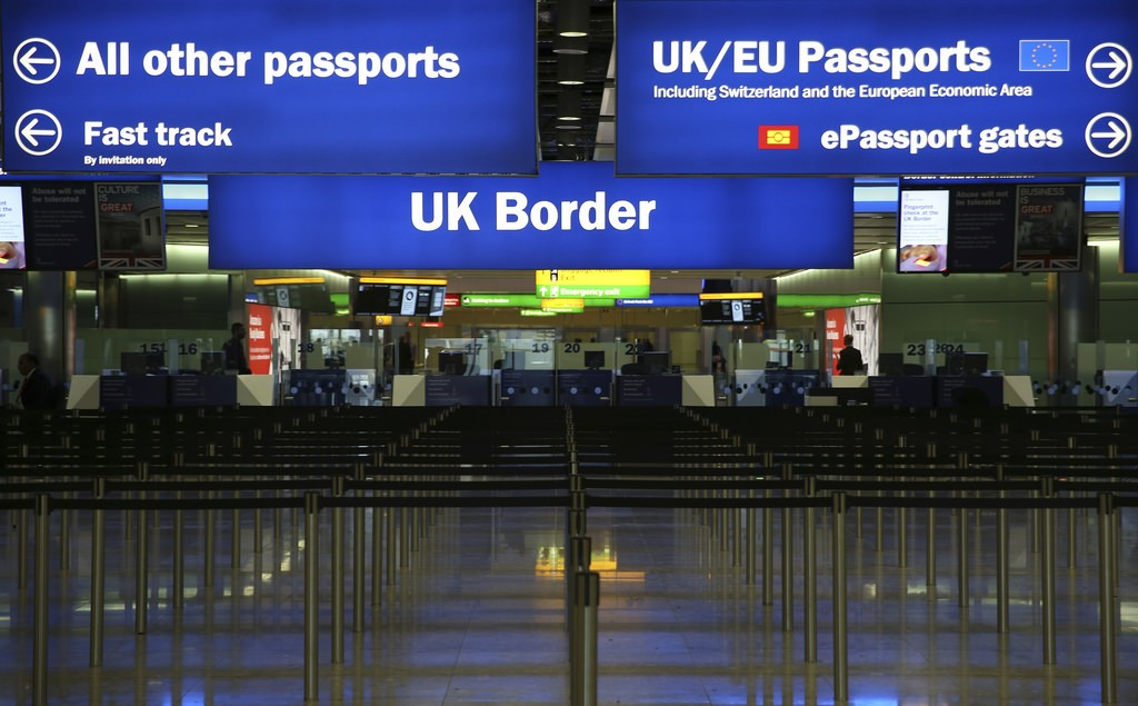 a picture of border control at a UK airport