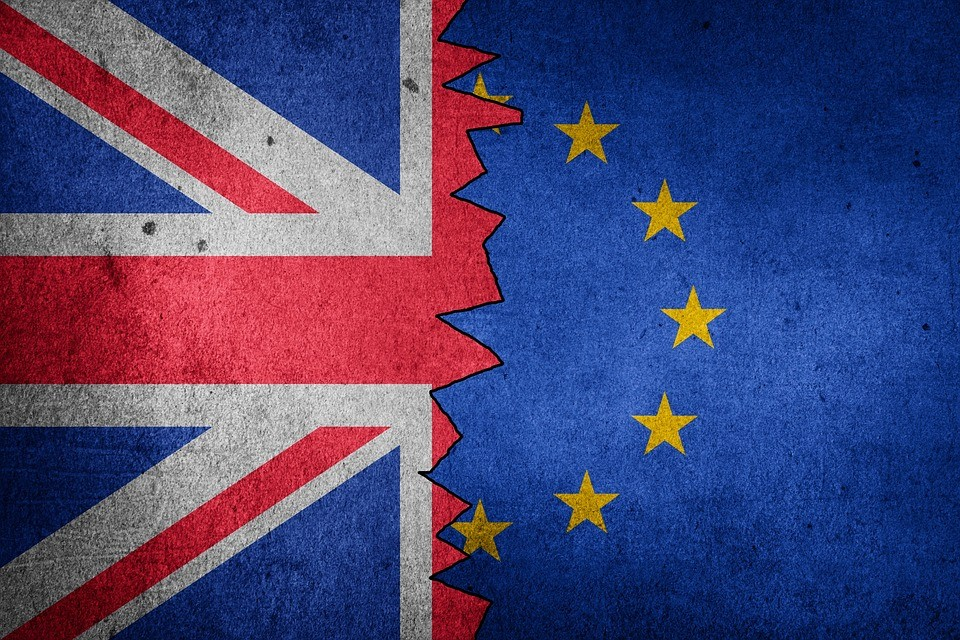 a picture of the British and EU flag meshed together in the middle