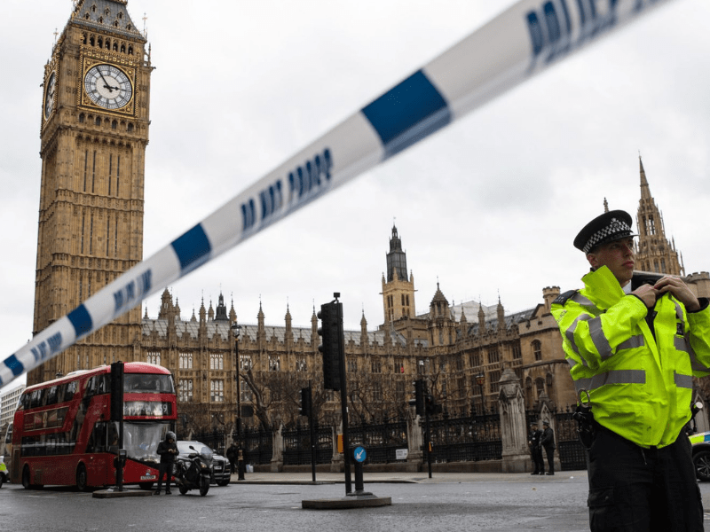 police cordon outside Palace of Westminster after a terrorist attack in 2017