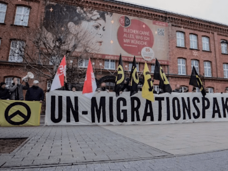 far right group Generation Identity protesting outside a building in Germany