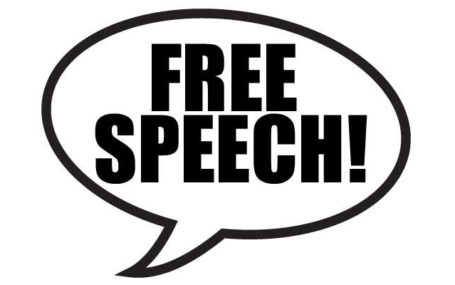 "a speech bubble with the words ""free speech"" written inside"