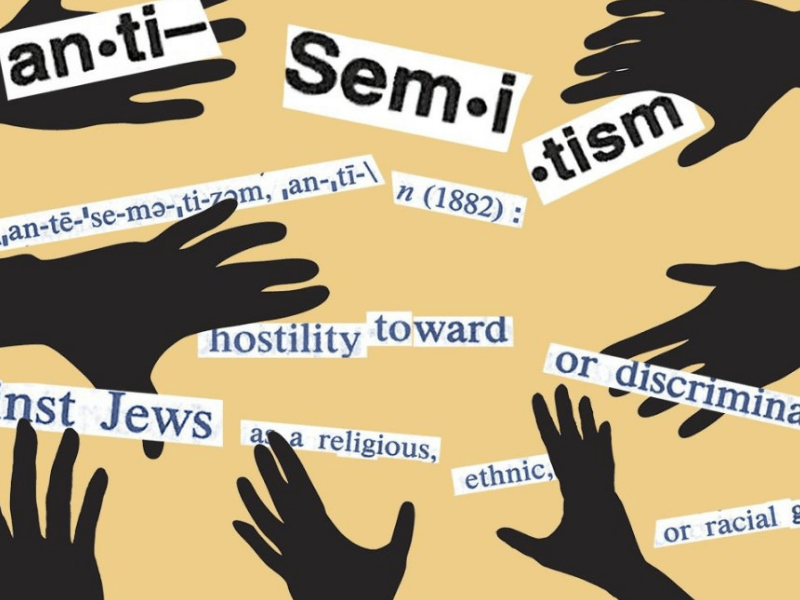 a picture with many strips of paper explaining what antisemitism is