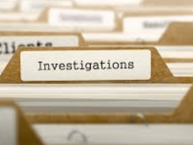 """a folder which says """"investigation"""""""
