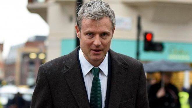 Conservative MP Zac Goldsmith walking outside his office
