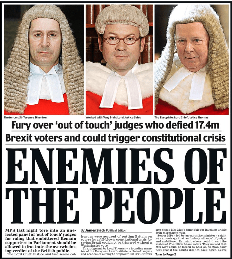 """A Daily Mail front cover with picture of 3 Supreme Court judges with the headline: """"Enemies of the People"""""""