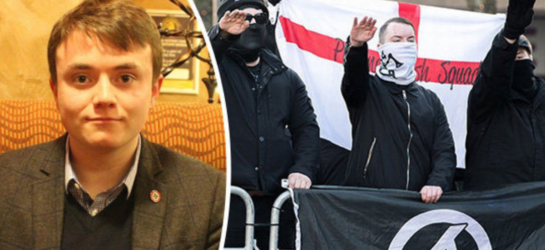 a picture of Neo-nazi Jack Renshaw on the left hand side of the screen and members of National Action doing the nazi salute on the right hand side of the image