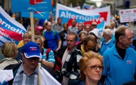Demonstranten der Alternative für Deutschland (AfD) halten am 02.09.2013 Plakate auf einer Demonstration in Düsseldorf (Nordrhein-Westfalen) hoch. Die Eurokritiker der AfD hoffen auf den Einzug in den Bundestag. Foto: Jan-Philipp Strobel/dpa +++(c) dpa - Bildfunk+++
