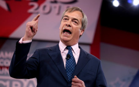 Nigel Farage speaking at an event in Europe