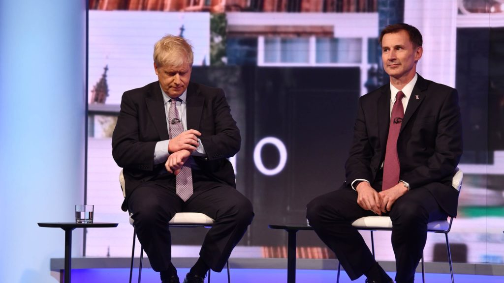 Conservative leadership candidates Boris Johnson and Jeremy Hunt looking nonchalant during the leadership TV debate