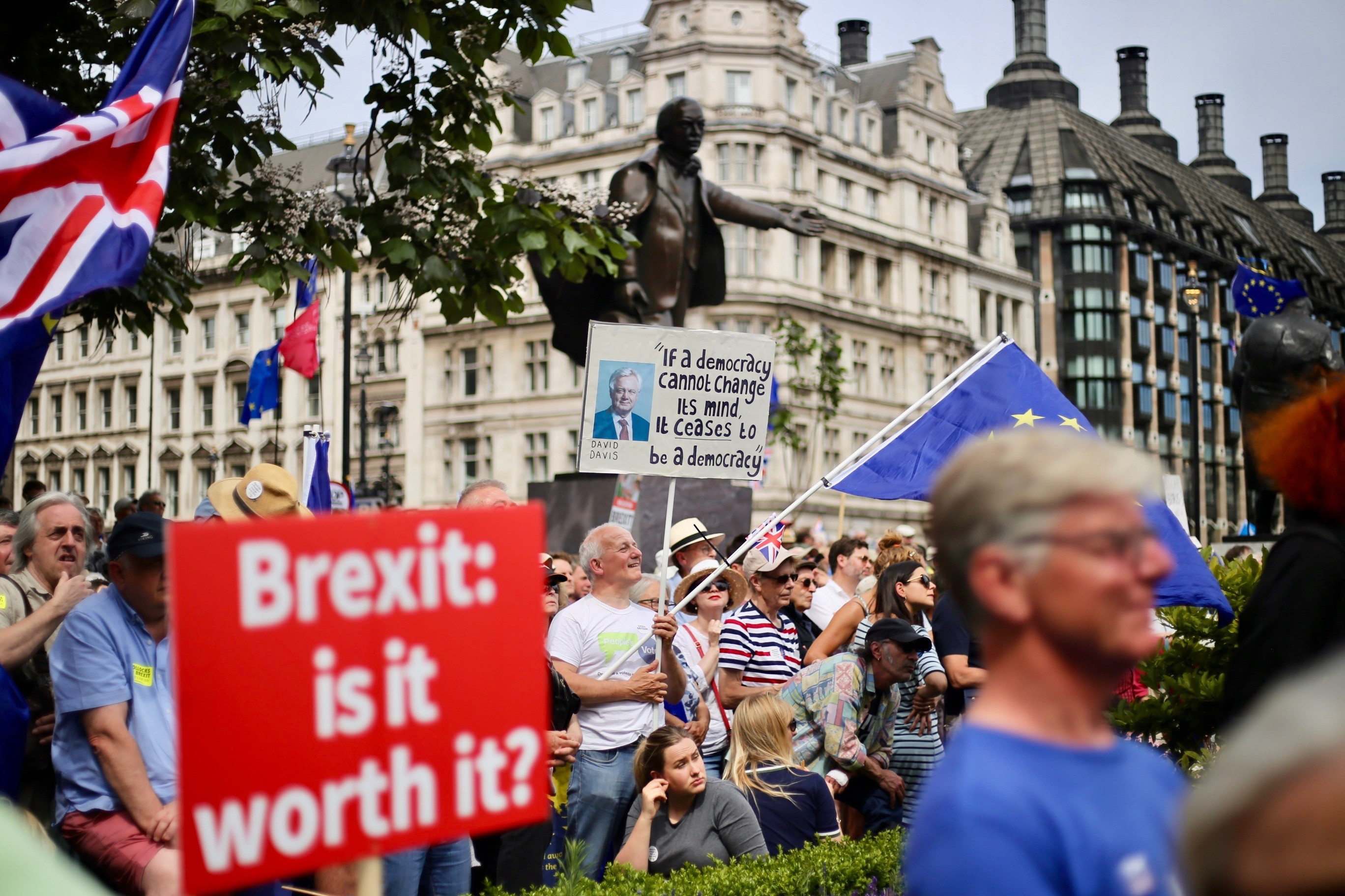 Hundreds of people at an anti-Brexit protest outside Westminster Palace, London