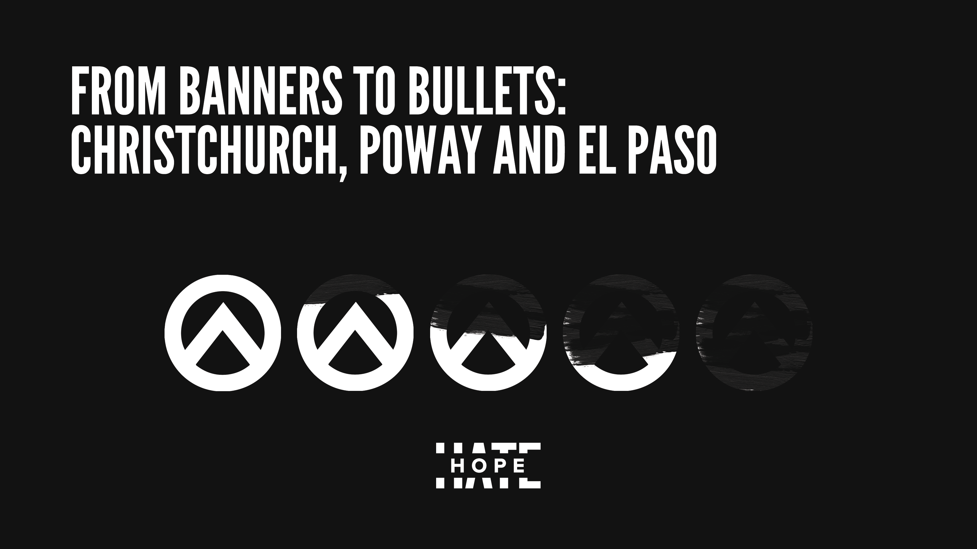 """A black graphic with white text which says """"`From Banners to bullets: Christchurch, Poway and El Paso"""""""