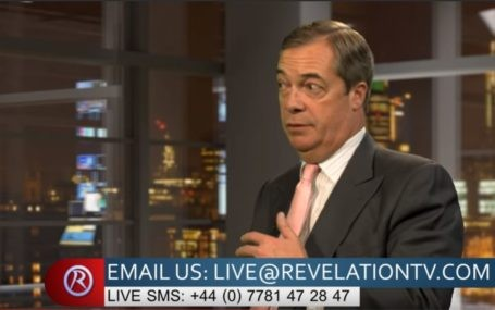"Nigel Farage on the Christian channel ""Revelation TV"""