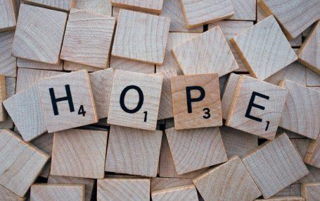 "Scrabble tiles which spells ""hope"""