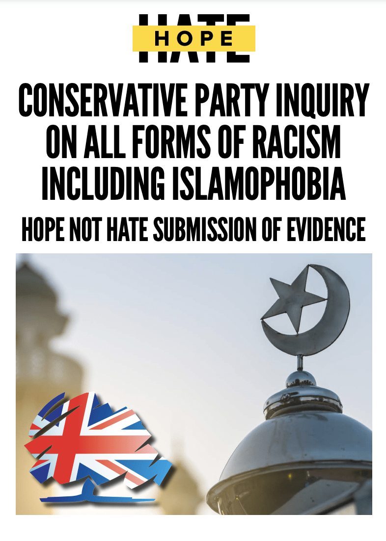 """Cover of """"The deep roots of Islamophobia in the Conservative Party"""" report"""