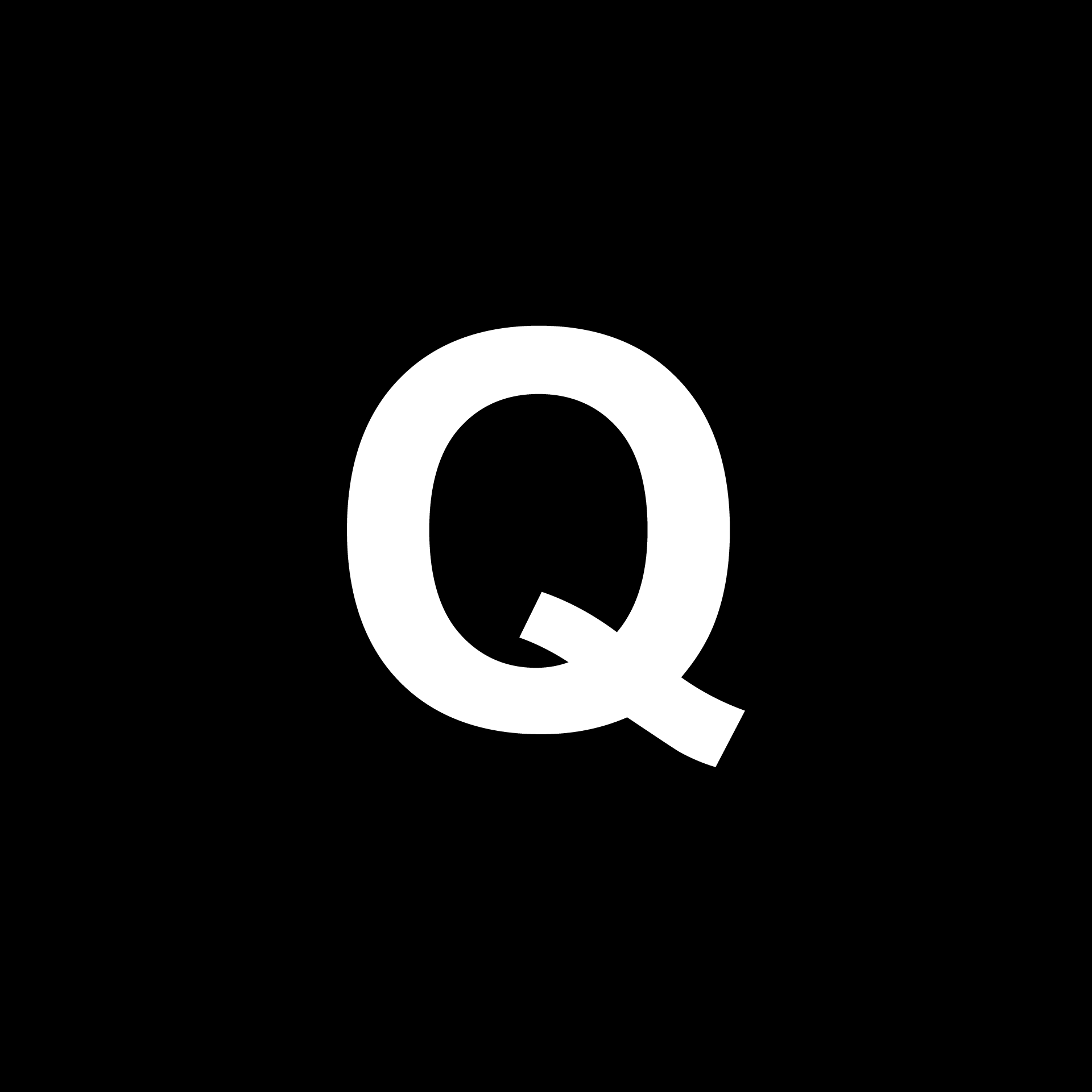 A graphic which says the letter 'Q'