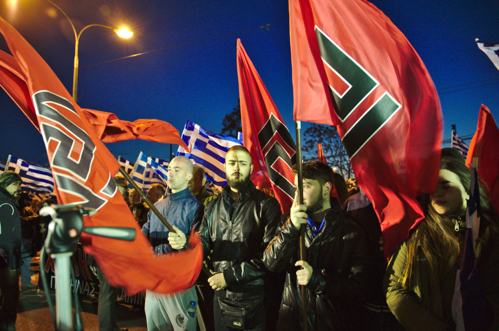 Golden Dawn members at rally in Athens 2015