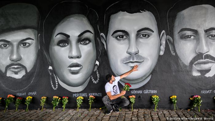 A mural of some of victims who lost their lives due to far-right terrorism in Hanau, Germany