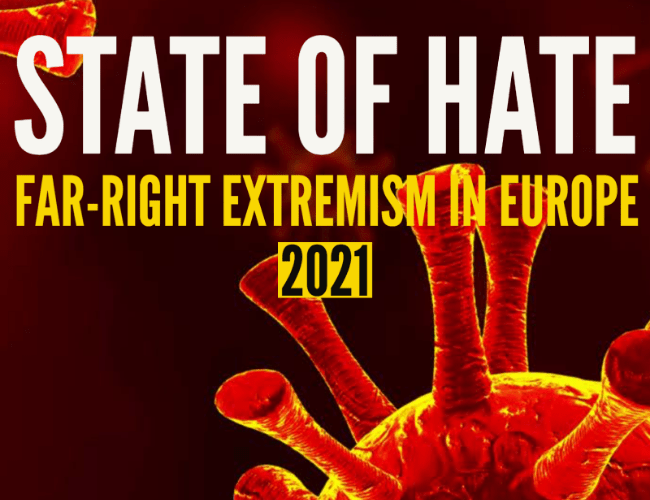 """A quote graphic which says """"State of Hate: Far-Right Extremism in Europe 2020"""""""