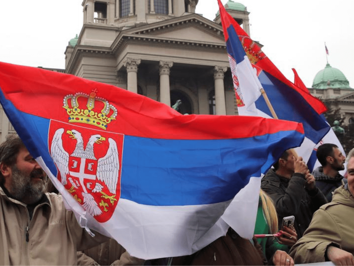 Demonstrators attend a protest against Serbia's President Aleksandar Vucic and his government, in front of the Parliament Building in central Belgrade, Serbia, April 13, 2019.