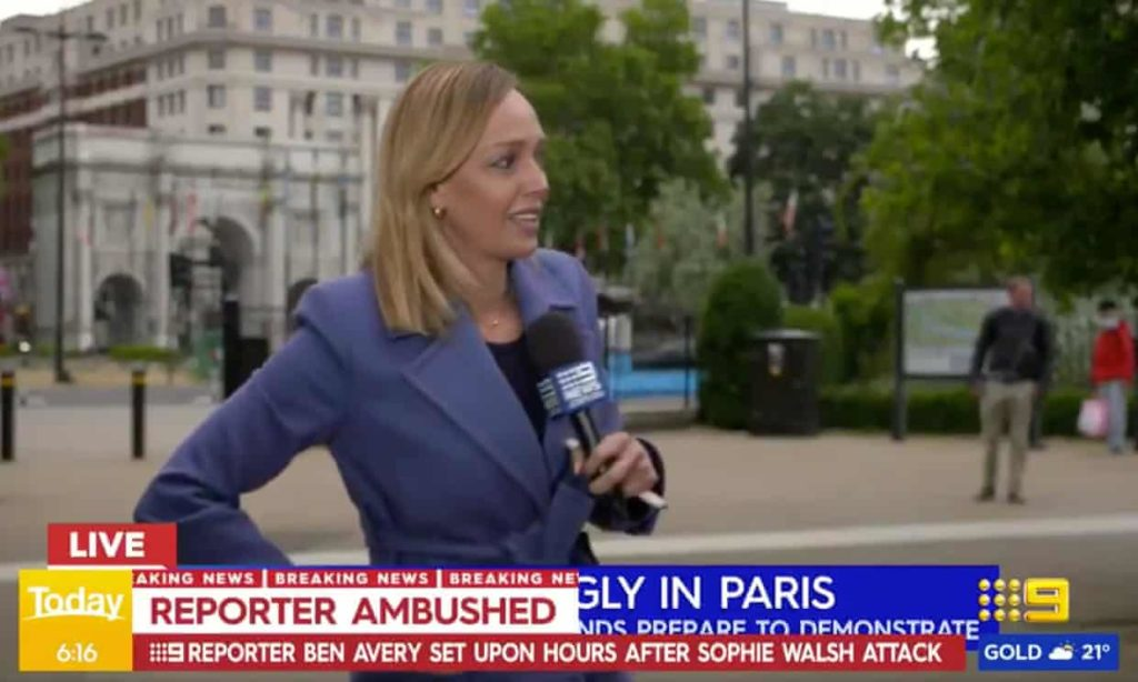 Nine News Europe correspondent Sophie Walsh immediately after she was attacked live on air while covering a Black Lives Matter protest in Hyde Park, London. Photograph: Channel Nine