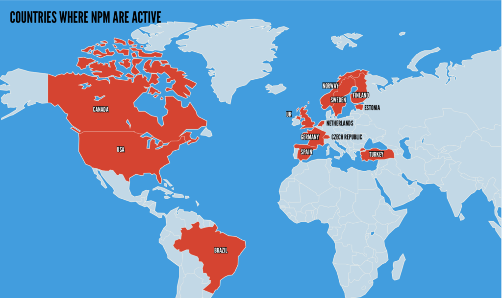 A world map which shows where NPM members are active. Countries include the UK, Germany, Spain, Norway, Sweden, Finland, Estonia, the Netherlands, Czechia, Turkey, the US, Canada and Brazil