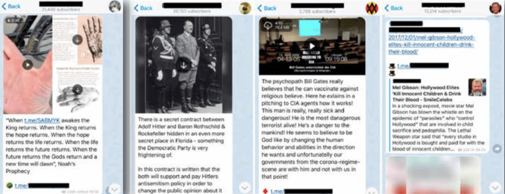 Screenshots of some the extreme Qanon content. Has images of Hitler, Mel Gibson and various antisemitic content