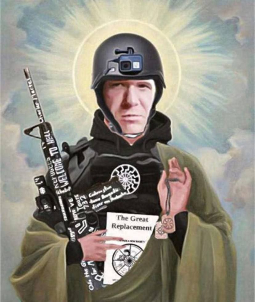 """Gunman and white supremacist terrorist Brenton Tarrant, who was responsible for murdering 51 people at two mosques in New Zealand, 2019, reimagined as a Christ-like figure. He's pictured holding a gun, a surveillance camera on his head and  he's holding a book called """"The Great Replacement"""""""