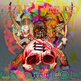 """A distorted images skulls and writing that says """"Blood & Soil"""""""