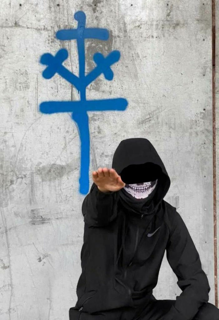 A teenager with his face covered with a balaclava is doing a Nazi solute