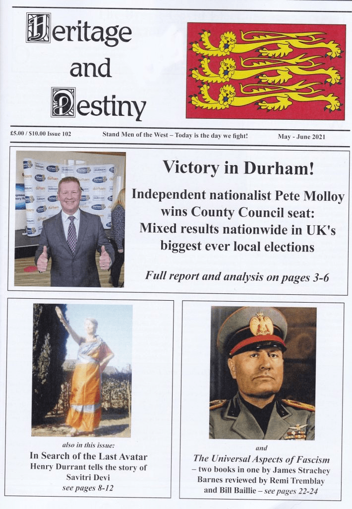 Front page of Heritage and Destiny magazine
