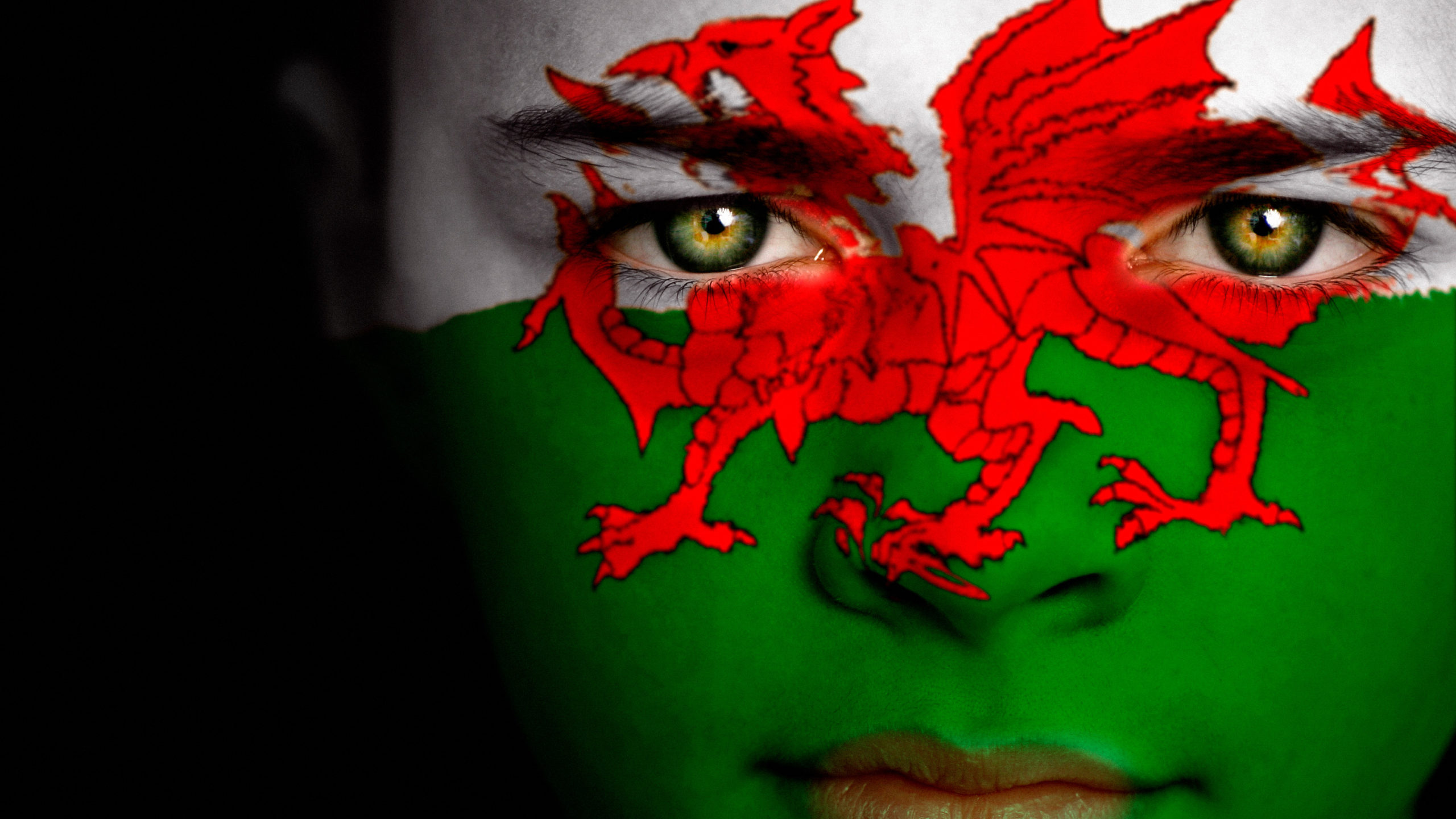 Person with Wales flag painted on face