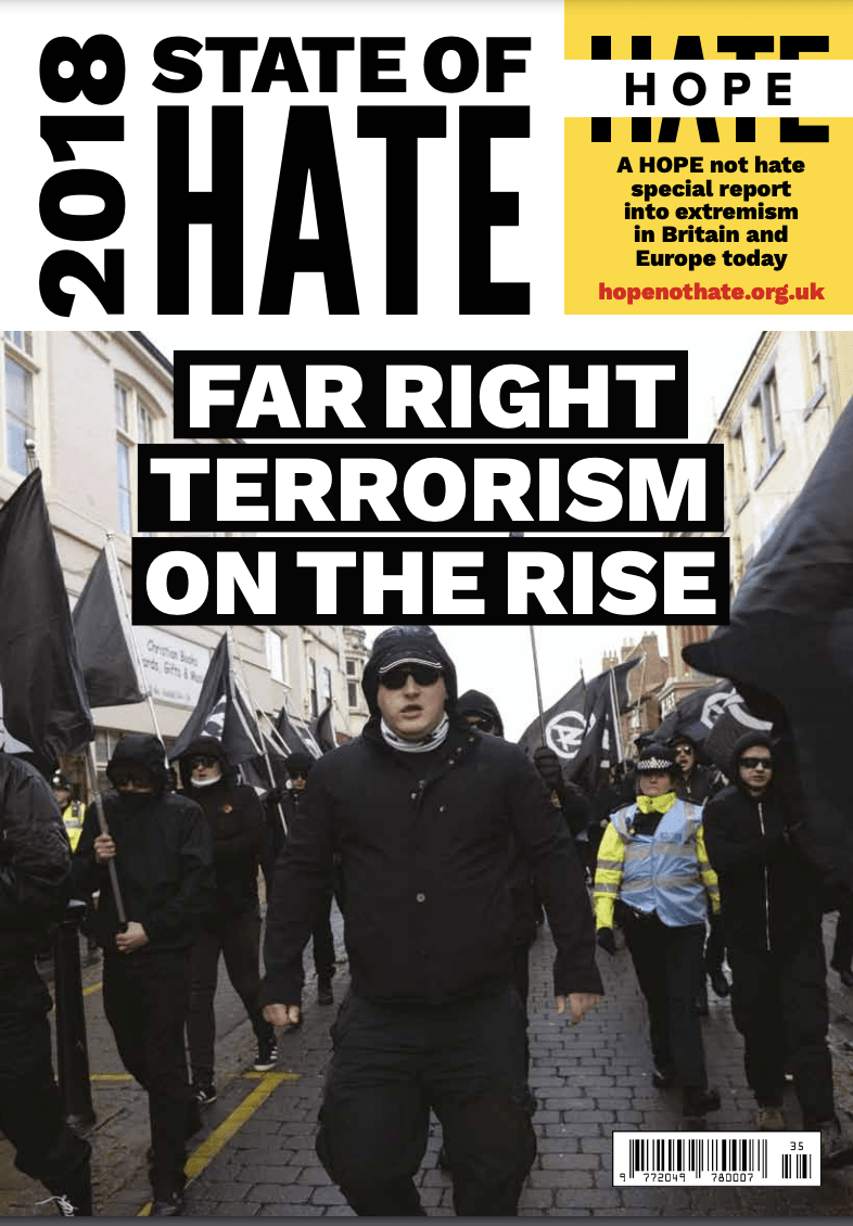 """Cover of the """"State of Hate 2018"""" report"""