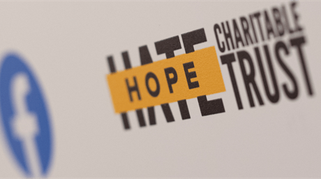 HOPE not hate Charitable Trust logo next to Facebook logo