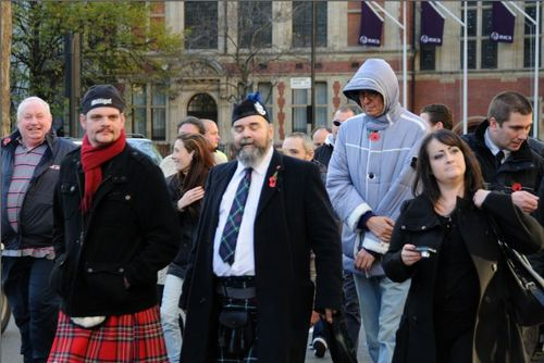 Eddie Scrimshaw marching with the NF