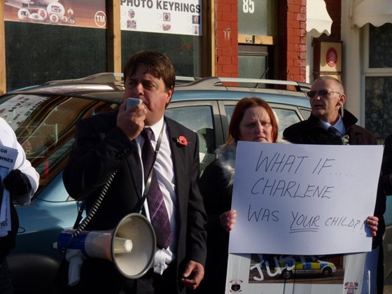 Karen with Nick Griffin on a protest about her missing daughter